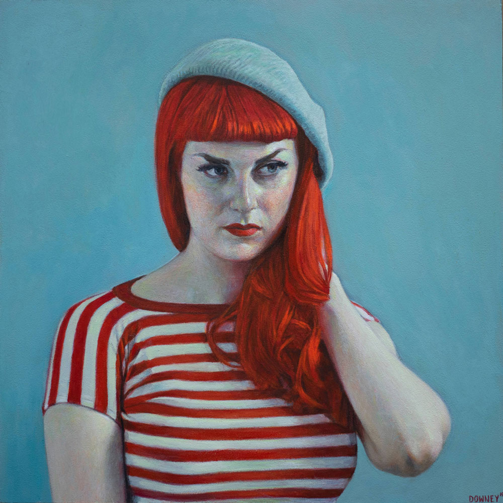 Sarah In Red and Blue by Shaun Downey
